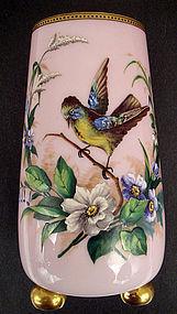 Antique Harrach Bohemian Cased Glass Enameled Vase (item #1131214)