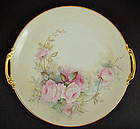 Antique Limoges Serving Platter with Pink Roses