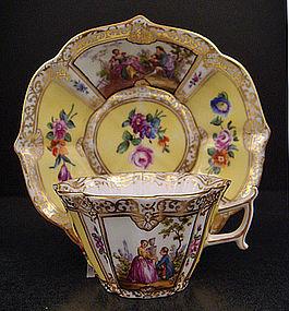 Antique Wolfsohn Dresden Demitasse Cup & Saucer