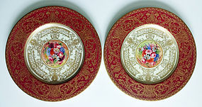 Exquisite Pair of Royal Worcester Cabinet Plates