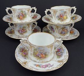 10 Helena Wolfsohn Dresden Two Handled Cups & Saucers