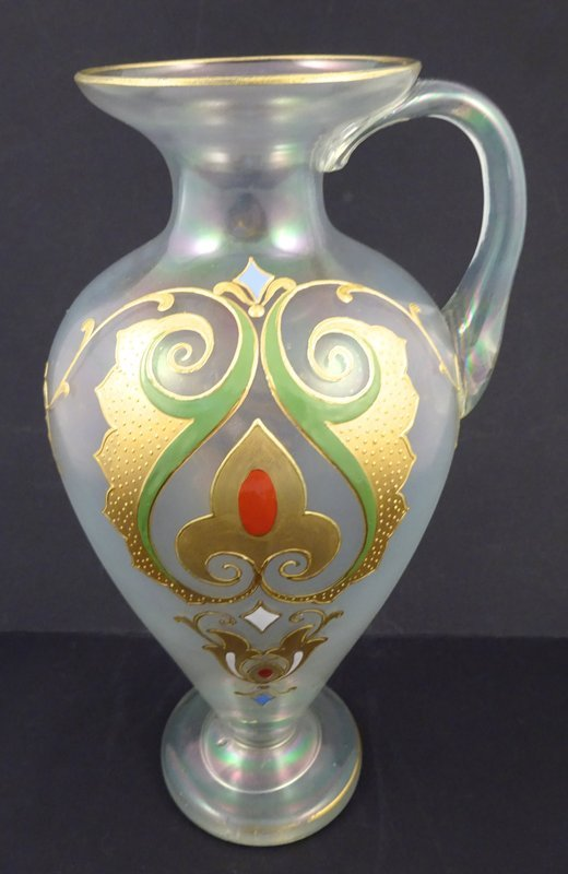 Antique Josephinenhutte Enameled Glass Jug