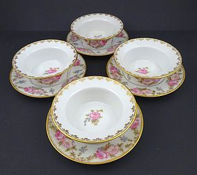 Vintage GDA Limoges Ramekins & Under Plates with Roses