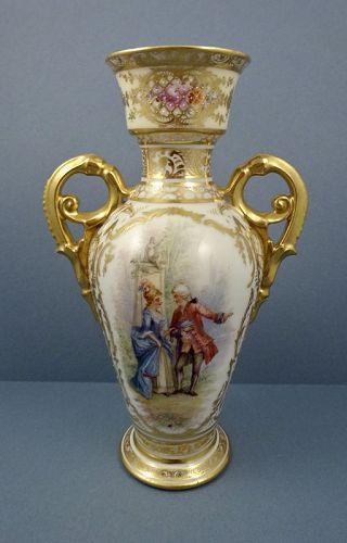 Antique Donath Dresden Scenic Vase With Handles Item 1360027