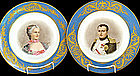 Pair French Portrait Plates Sevres Style II