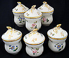 6 Antique Paris Porcelain Pot de Cremes