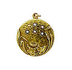 Art Nouveau 14K Gold & Pearl Waterlily Locket