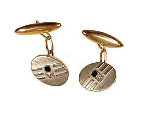 Art Deco Platinum 18K Gold Diamond & Sapphire Cufflinks