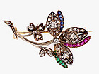 Victorian18K Diamond Ruby Emerald Sapphire Floral Pin