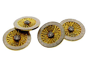 Larter 14K Gold, Platinum & Diamond Double Cufflinks