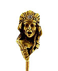 Art Nouveau 14K Indian Chief Diamond Stickpin