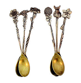 6 Tiffany Amp Co Sterling Silver Floral Demitasse Spoons