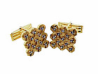 Vintage 14K Yellow Gold Sapphire Checkerboard Cufflinks