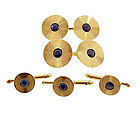 Tiffany & Co. 14K Gold & Sapphire Cufflinks & Studs Set