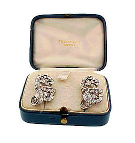 Tiffany Art Deco Platinum Diamond Dress Clips / Brooch