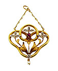 French Art Nouveau 18K Gold Diamond Ruby Pearl Pendant