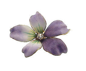 Art Nouveau 14K Gold, Diamond & Enamel Violet Pin