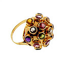 H Stern Style 18K Gold Multi-Gem Sputnik Ring