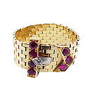 Retro Tiffany 14K Platinum Ruby Diamond Buckle Ring