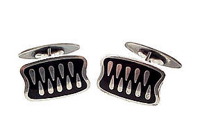 Meka Modernist Danish Sterling Silver Enamel Cufflinks