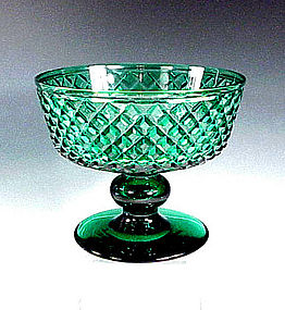 Signed Hawkes Solid Green American Cut Glass Compote