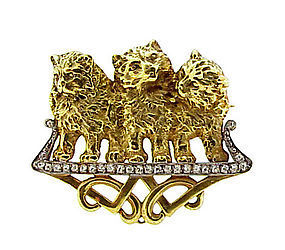French Art Nouveau 18K Gold & Diamond Cat Brooch
