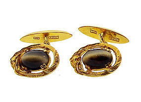 Nosey 14K Gold & Cat�s-Eye Chrysoberyl Dragon Cufflinks