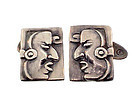 Margot de Taxco Mexican Silver MAYA Cufflinks