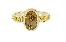 Vintage 14K Gold & Gold Quartz Ring