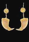 Victorian Raj 18K Gold & Tiger's Claw Earrings