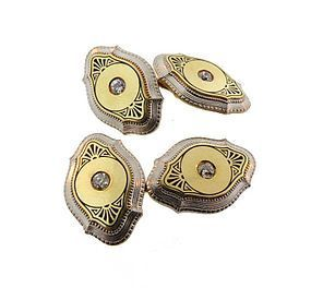Edwardian 14K Gold, Platinum Enamel & Diamond Cufflinks