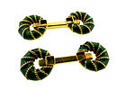 French 18K Gold & Enamel Horsebit Cufflinks