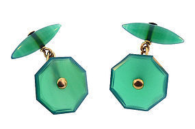 Art Deco 18K Yellow Gold & Chrysopase Cufflinks