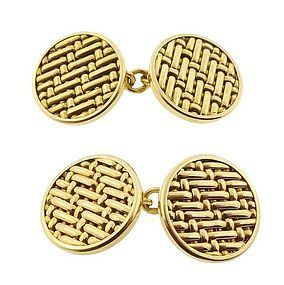 18K Yellow Gold Woven Cufflinks