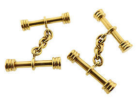 Heavy 18K Yellow Gold Baton Cufflinks