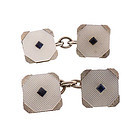 Art Deco White Gold Sapphire Mother of Pearl Cufflinks