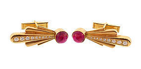 18K Gold, Diamond & Pink Tourmaline Comet Cufflinks