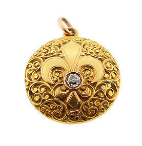 Victorian 18K Gold & Diamond Fleur-de-Lis Locket