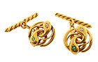 Edwardian 18K Gold, Diamond & Emerald Snake Cufflinks