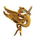Victorian 18K Gold Ruby & Pearl Basilisk Brooch/Pendant