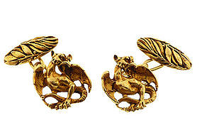 Napoleon III 18K Gold Mythological Griffin Cufflinks