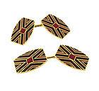 French Art Deco 18K Gold Enameled Cufflinks