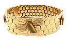 Retro 18K Gold Hessonite Garnet Bee Honeycomb Bracelet
