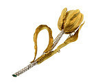 18K Gold, Diamond & Emerald Tulip Brooch