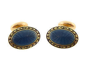 Victorian Carter Gough 14K Gold Enamel Cufflinks