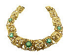 Art Nouveau 14K Gold & Green Tourmaline Bracelet