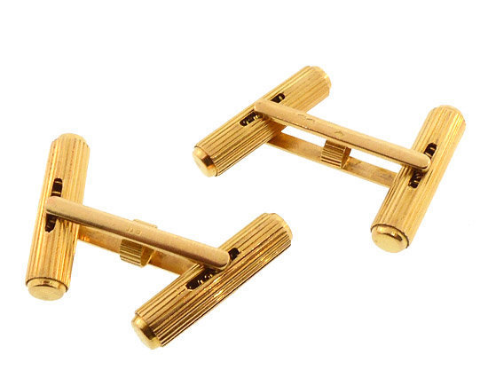 French 18K Gold Mechanical Double Baton Cufflinks