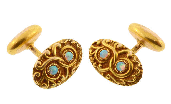 Art Nouveau 14K Gold & Opal Cufflinks