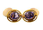 Arts & Crafts 14K Gold & Buff Top Amethyst Cufflinks