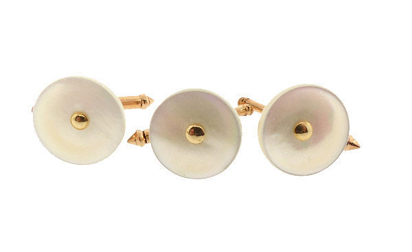 Set of 3 Larter 14K Gold & Mother of Pearl Studs